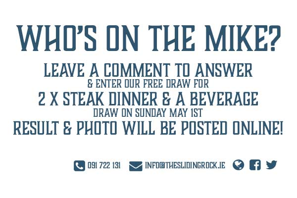 Who's on the mike pub competition sign